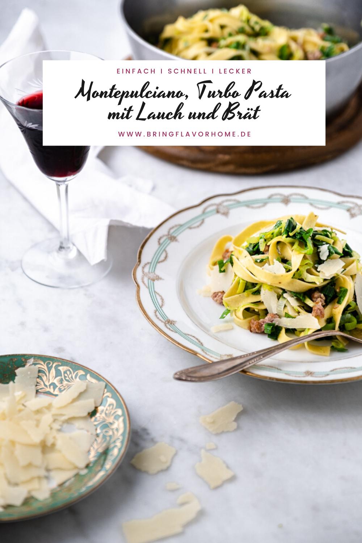 Rezept für schnelle Pasta mit Lauch und Bratwurst